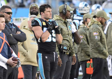 Carolina Panthers middle linebacker Luke Kuechly (59) watches from the sidelines against the Atlanta Falcons at Bank of America Stadium in Charlotte, N.C., on November 17, 2019. - David T. Foster III/Charlotte Observer/TNS