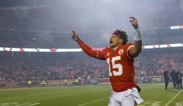 Kansas City Chiefs quarterback Patrick Mahomes celebrates after leading the Chiefs to a 51-31 victory against the Houston Texans on January 12, 2020, at Arrowhead Stadium in Kansas City, Mo. - Rich Sugg/Kansas City Star/TNS