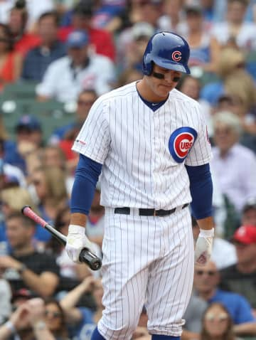 Chicago Cubs first baseman Anthony Rizzo (44) heads to the dugout after striking out against the St. Louis Cardinals in the first inning at Wrigley Field Saturday, Sept. 21, 2019, in Chicago. - John J. Kim/Chicago Tribune/TNS