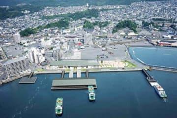 2月末のオープンが決まった宮島口の新旅客ターミナル(中央下)の完成イメージ