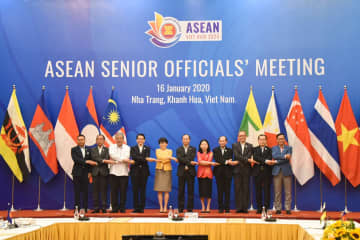 Senior officials of Asean members pose for a group photo during a meeting in Nha Trang, Vietnam, on Thursday. (Photo from @MFAThai Twitter account)