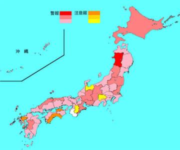 インフルエンザ患者の報告数は6県で増加、41都道府県で減少した(マップは国立感染症研究所のホームページから抜粋)
