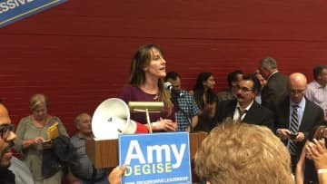 Amy DeGise speaks to her supporters after being voted in as HCDO chair last June.