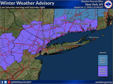 Nine New Jersey counties are under a winter weather advisory for Saturday. (National Weather Service/)