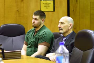 Jason Vanderee (left) appears in court with defense attorney John Latoracca on Friday, Jan. 17, 2020. Vanderee is charged with killing three people in Wayne, New Jersey while driving his car under the influence of drugs. (Rodrigo Torrejon/)