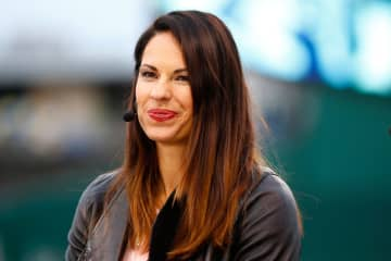 Jessica Mendoza of ESPN speaks on set the day before Game 1 of the 2015 World Series between the Royals and Mets at Kauffman Stadium on October 26, 2015 in Kansas City, Missouri. - Maxx Wolfson/Getty Images North America/TNS