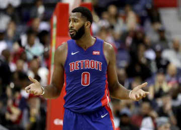 WASHINGTON, DC - OCTOBER 20: Andre Drummond #0 of the Detroit Pistons reacts to a foul call against the Washington Wizards at Capital One Arena on October 20, 2017 in Washington, DC.