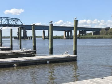 Docks on the Hackensack River, the center point of the Meadowlands district. (Teri West/)
