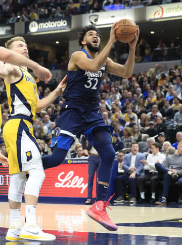 The Minnesota Timberwolves' Karl Anthony-Towns (32) puts up a shot in the lane against the Indiana Pacers at Bankers Life Fieldhouse in Indianapolis on Friday, Jan. 17, 2020. The Pacers won, 116-114. - Andy Lyons/Getty Images North America/TNS