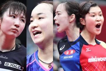左から早田ひな、伊藤美誠、石川佳純、橋本帆乃香 Photo:Itaru Chiba