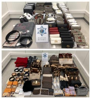 旅客が無申告でマカオへの持ち込みを企図した大量の高級ブランド品(写真:澳門海關)