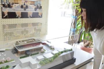 五ケ瀬町役場で展示されている新庁舎の模型