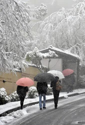 雪の積もった道路を足元に気をつけながら歩く人の姿が見られた=18日午前8時25分ごろ、箱根町の箱根登山鉄道強羅駅付近
