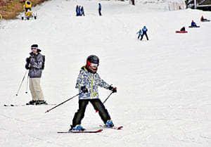 スキーを楽しむ来場者=猪苗代町・リステルスキーファンタジア