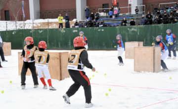 元気いっぱい雪球に見立てたテニスボールを投げ合うジュニアの部の選手
