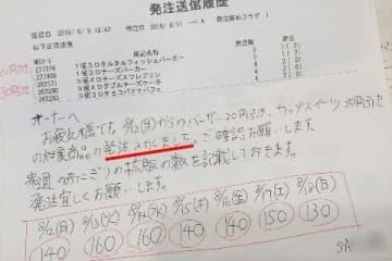 「発注送信履歴」には、本部社員からの「発注入力しました」の手書きメモがある(店舗提供、下線は編集部)