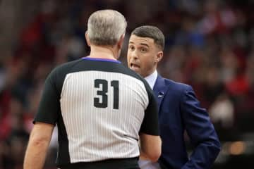 Timberwolves head coach Ryan Saunders, right, talks with referee Scott Wall during a game against the Rockets on Jan. 11. - Star Tribune/Star Tribune/Michael Wyke/Star Tribune/TNS