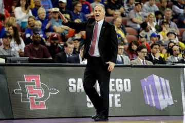 San Diego State head coach Brian Dutcher looks on against Houston during the first round of NCAA Tournament at INTRUST Arena in Wichita, Kan., on March 15, 2018. - Jeff Gross/Getty Images North America/TNS