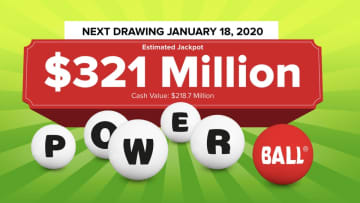 The Powerball lottery drawing for Saturday, Jan. 18, 2019 is worth an estimated $321 million. Check back later to see if anyone won the Powerball jackpot. (Powerball.com/)