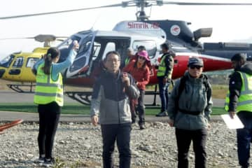 Helicopters were sent out on Saturday to rescue about 200 people stranded around Annapurna and other nearby mountains after the incident.