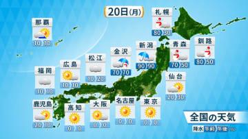 20日(月)の全国の天気と降水確率