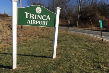 A sign at the entrance to Trinca Airport in Green Township, Jan. 17, 2020 (Rob Jennings/)