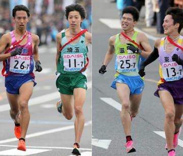 【写真左】埼玉のアンカー設楽(右)と競り合う京都の一色【写真右】ゴール手前でスパートする滋賀のアンカー吉岡(左)=広島市・平和記念公園前