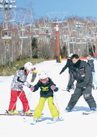 スキーを楽しむ家族客ら