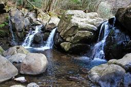 岩にぶつかり、しぶきを上げる「尼ン滝」=三田市母子