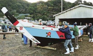 本番に向け船出し 串本町の水門祭