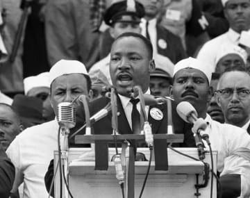 "FILE - In this Aug. 28, 1963 file photo, Dr. Martin Luther King Jr., head of the Southern Christian Leadership Conference, addresses marchers during his ""I Have a Dream"" speech at the Lincoln Memorial in Washington. (AP Photo/File) (Associated Press/)"