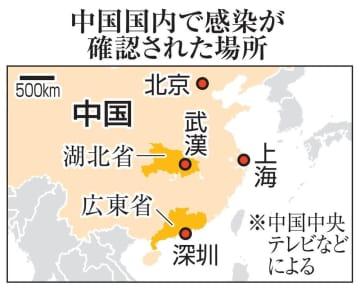 中国国内で感染が確認された場所(北京、上海、湖北省・武漢、広東省・深セン)