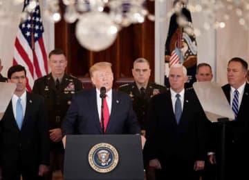 WASHINGTON, DC - JANUARY 08: U.S. President Donald Trump speaks from the White House on January 08, 2020