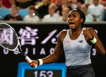 MELBOURNE, AUSTRALIA - JANUARY 20: MELBOURNE, AUSTRALIA - JANUARY 20: Coco Gauff of the United States celebrates during her first round match against Venus Williams of the United States on day one of the 2020 Australian Open at Melbourne Park...
