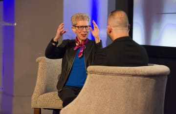 Terry Gross, left, and Yannick Nezet-Seguin while taping an interview for a Fresh Air segment in front of a live audience at WHYY on April 2, 2019. - CHARLES FOX/The Philadelphia Inquirer/TNS
