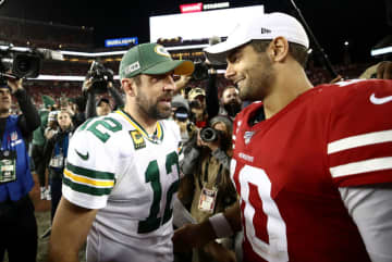 Aaron Rodgers #12 of the Green Bay Packers shakes hands with Jimmy Garoppolo #10 of the San Francisco 49ers after their game at Levi's Stadium on Nov. 24, 2019 in Santa Clara, Calif. - Ezra Shaw/Getty Images North America/TNS