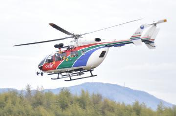災害対応に加え、救急現場でも活躍する県の防災ヘリ「つくば」=つくば市上境