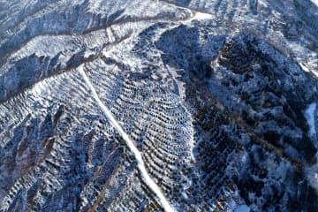 雪化粧した陝西省延川県