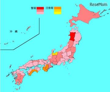 インフルエンザ流行レベルマップ(第2週)