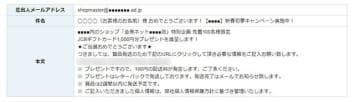 1月13日に送信されたと推測される偽装メール(モザイクは詐欺サイトのURL)