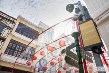 マカオの世界遺産・セナド広場や聖ポール天主堂跡一帯にテスト導入されている混雑予測警報システム(写真:マカオ治安警察局)