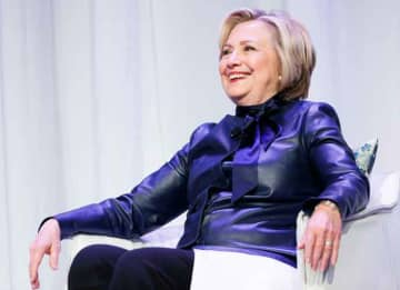 VANCOUVER, BC - DECEMBER 13: Former U.S. Secretary of State Hillary Clinton speaks onstage during the tour for her new book 'What Happened' at Vancouver Convention Centre on December 13, 2017 in Vancouver, Canada.