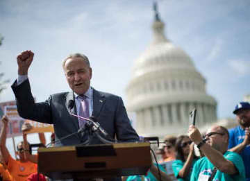 WASHINGTON, DC - SEPTEMBER 26: Senate Minority Leader Chuck Schumer (D-NY) speaks during a news conference in opposition to the Graham-Cassidy health care bill, September 26, 2017 in Washington, DC
