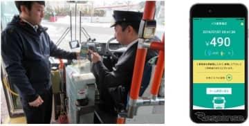 バス内でのキャッシュレス決済イメージとWebアプリ画面イメージ