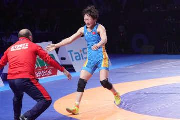女子62kg級でポイントを伸ばした世界チャンピオンのアイスルー・チニベコワ(キルギス)=写真は2019年世界選手権