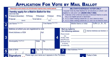 A mail-in ballot in Hudson County.