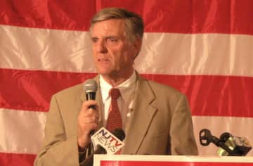 """Ocean County Republican Chairman George Gilmore is shown in a 2014 file photo addressing GOP supporters.(MaryAnn Spoto 
