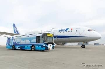 大型自動運転バスとANA機