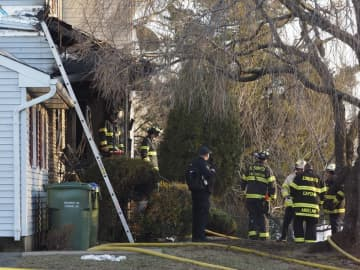 Firefighters on Jill Court in Edison on Wed. Jan. 22, 2020. A fire killed 2 people at the home. (Patti Sapone | NJ Advance Media/)