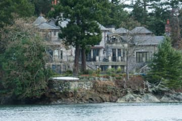 Prince Harry, his wife Meghan and their son Archie are currently living in Mille Fleurs, a mansion in the seaside community of North Saanich on Canada's Vancouver Island — the home is seen from a boat on the Saanich Inlet.